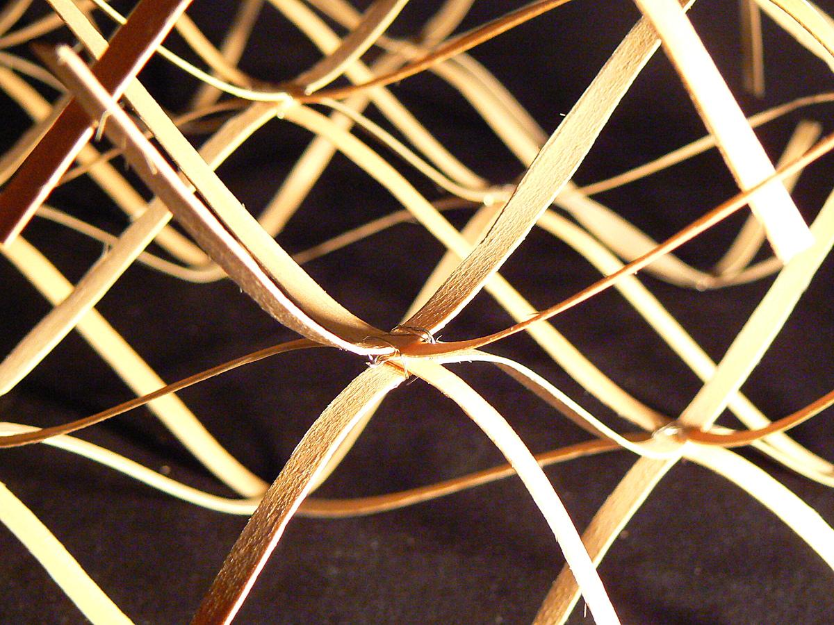 Sculpture, wood veneer, sine waves