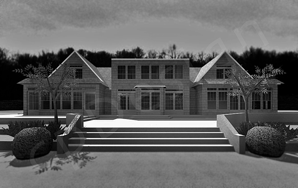 Rear view showing the deck rear facade