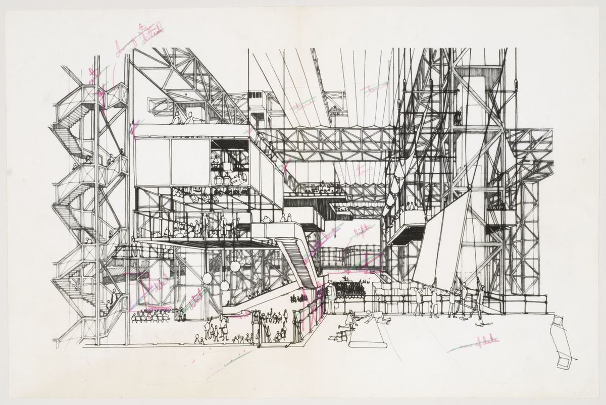 Fun Palace: interior perspective Via Cedric Price fonds Collection Canadian Centre for Architecture