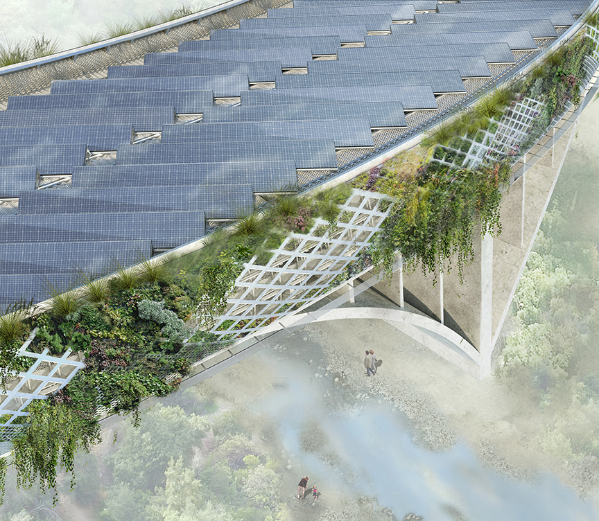 View from above of Michael Maltzan's proposed Arroyo Seco bridge overlay. Image: Michael Maltzan Architecture