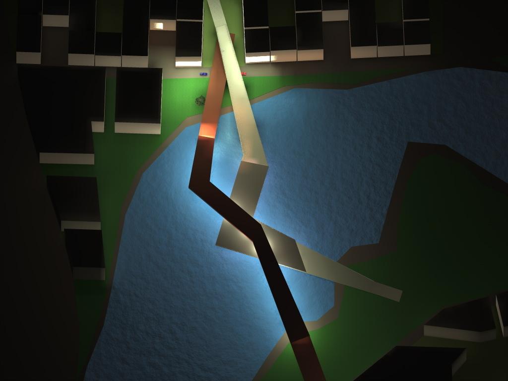 Wind energy production bridge by night