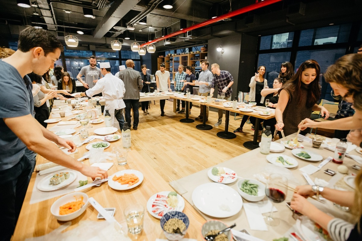 A communal kitchen in a building run by the co-living organization WeLive. Photo courtesy of WeLive.