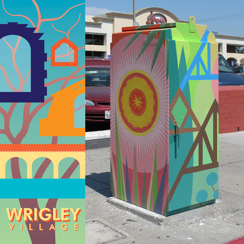 Wrigley Village Murals. (Long Beach, CA, 2011) Public art commission for 3 utility boxes, based on community love of banner designs (above).