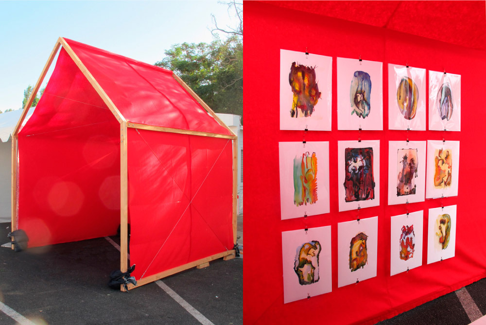 """Art House. (LA, 2010) Installation for showcasing art at fairs - in a """"house,"""" its post-purchase context. Some of these watercolors have been featured in TV commercials."""