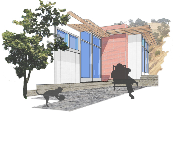 A perspective of the backyard showed the interaction of dog and man with the environment around.