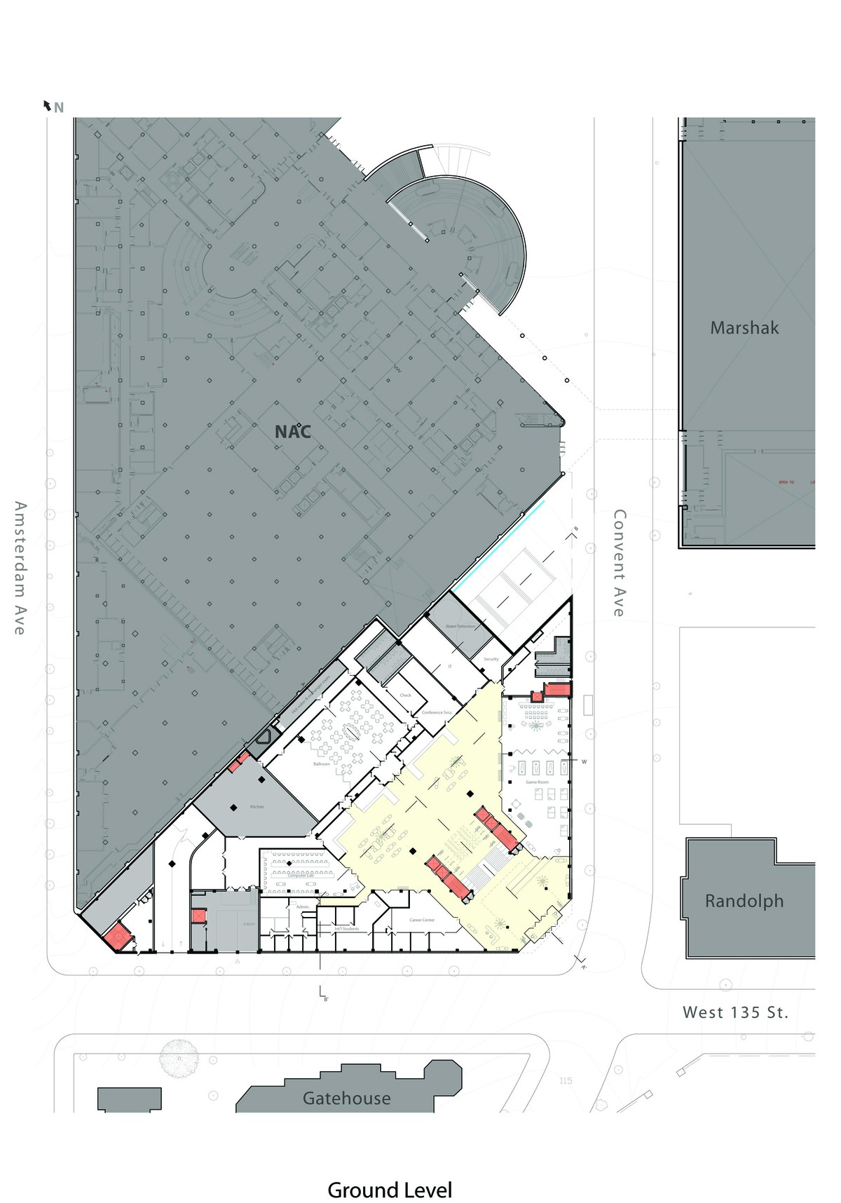 Site plan, with North Academic Center adjacent to the north