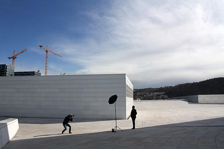 Photo shoot atop the Oslo Opera House