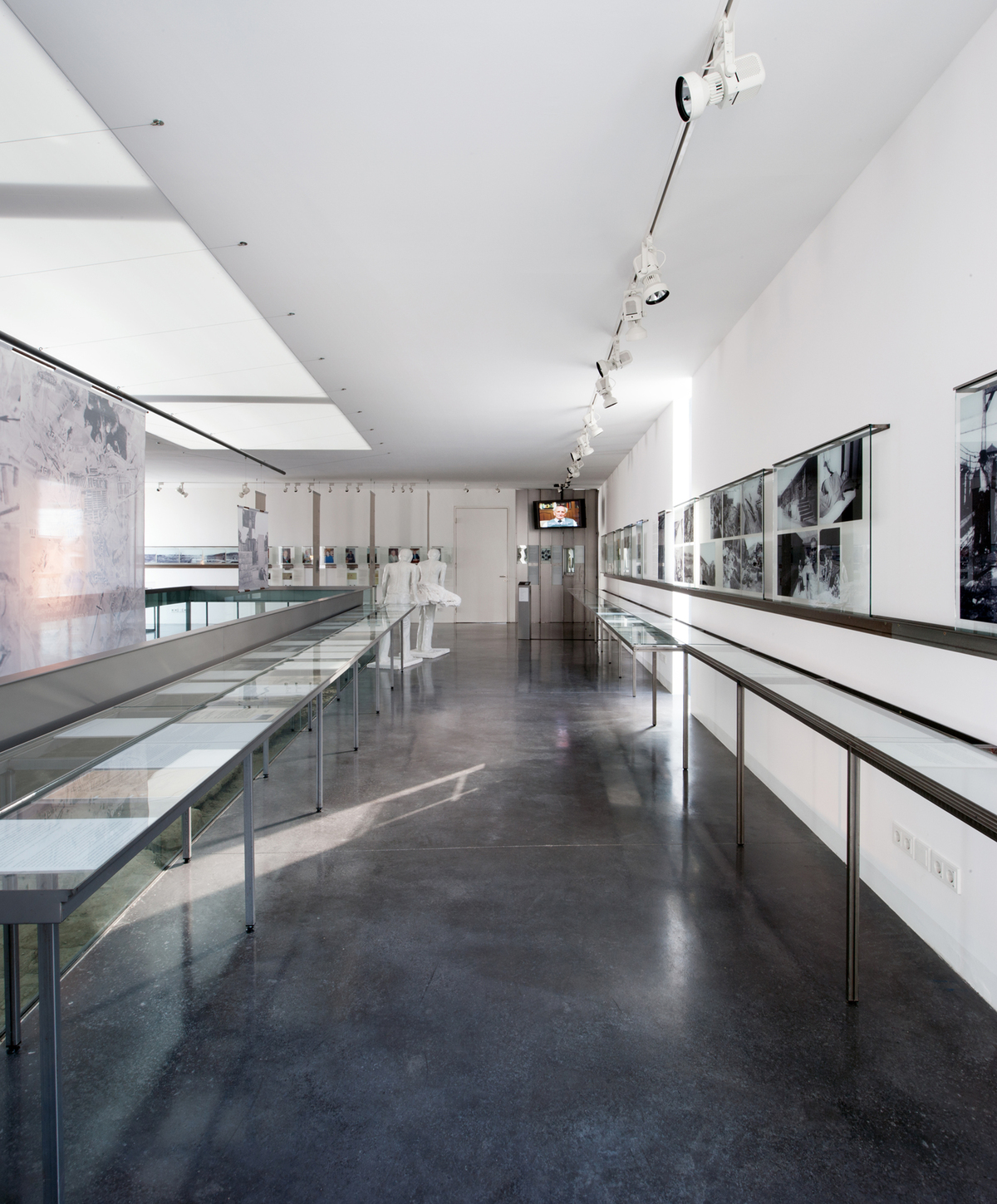 Rails in the form of right-angled metal profiles showing their fastenings and fitted with with modular exhibition elements are placed on the wall and glass surfaces.
