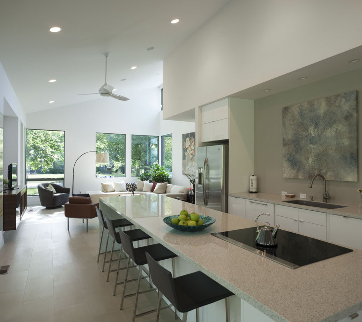 kitchen transitions into living space