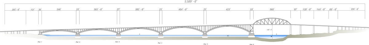 Peace Bridge North Elevation (CAD)