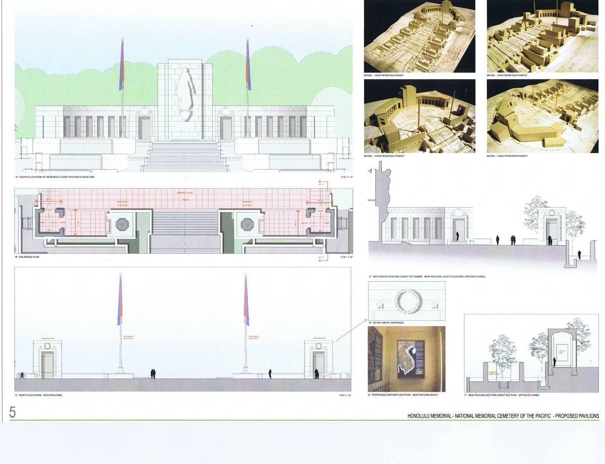 Proposed Vietnam War Exhibition Pavilions, Plans, Elevations, Sections, Details.