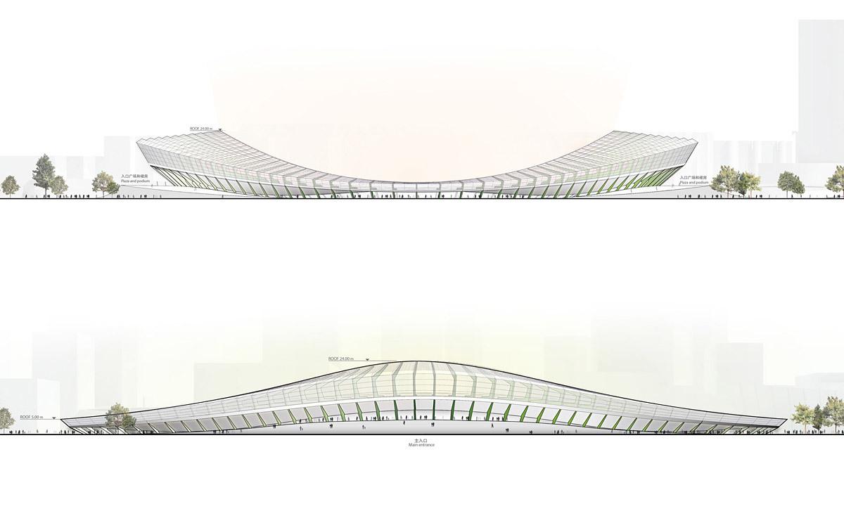 Elevation of the main stadium (Image: Henn Architekten)