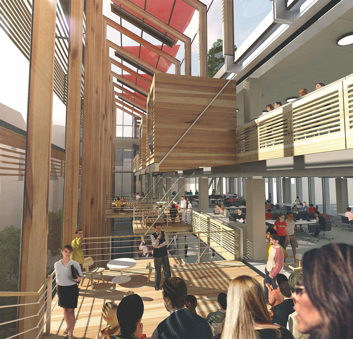 Collaboration and study spaces within the atrium.