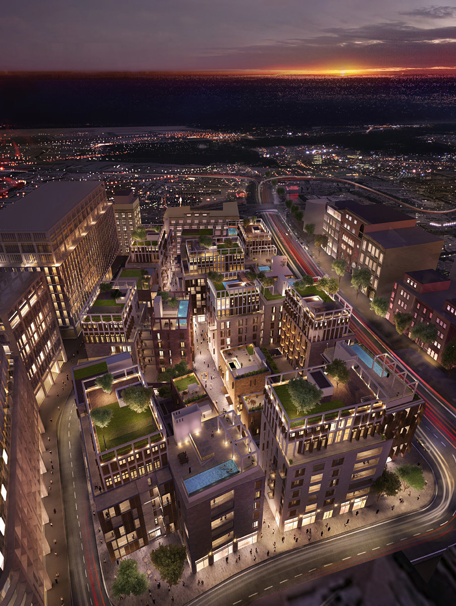Aerial view rendering of Distric//S in Beirut, Lebanon (Image: Allies and Morrison Architects)