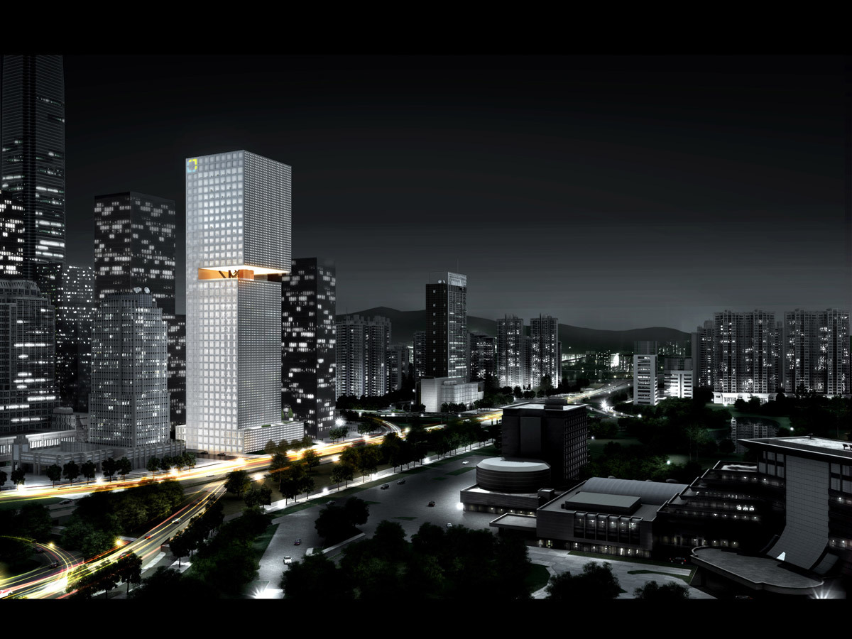 Night view (Image courtesy of OMA)