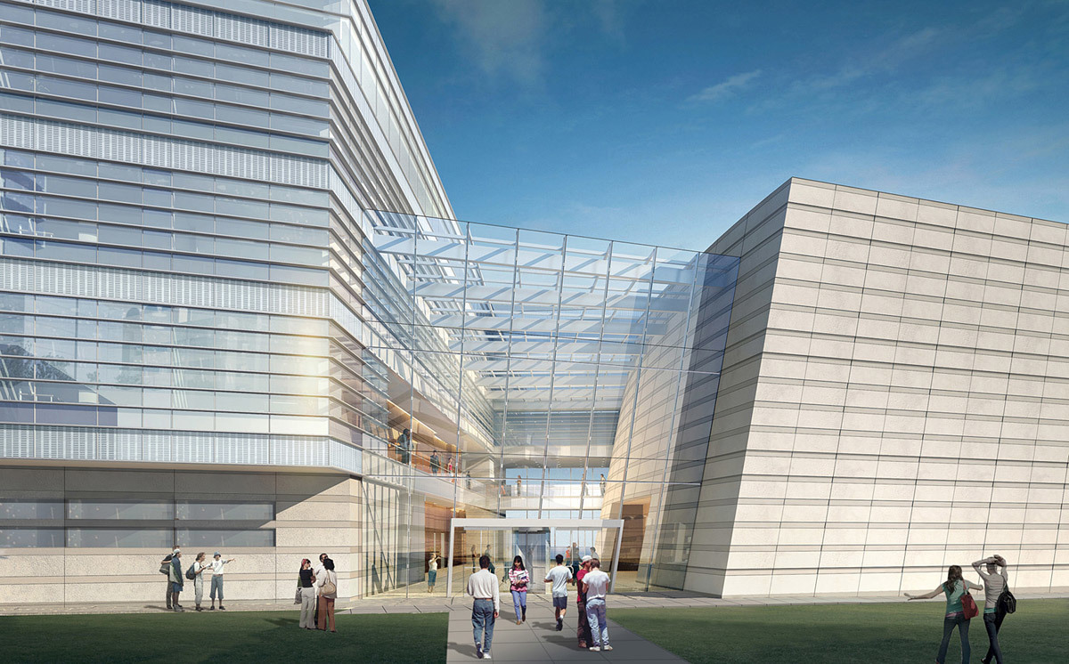 Building entry (Image: Goettsch Partners)