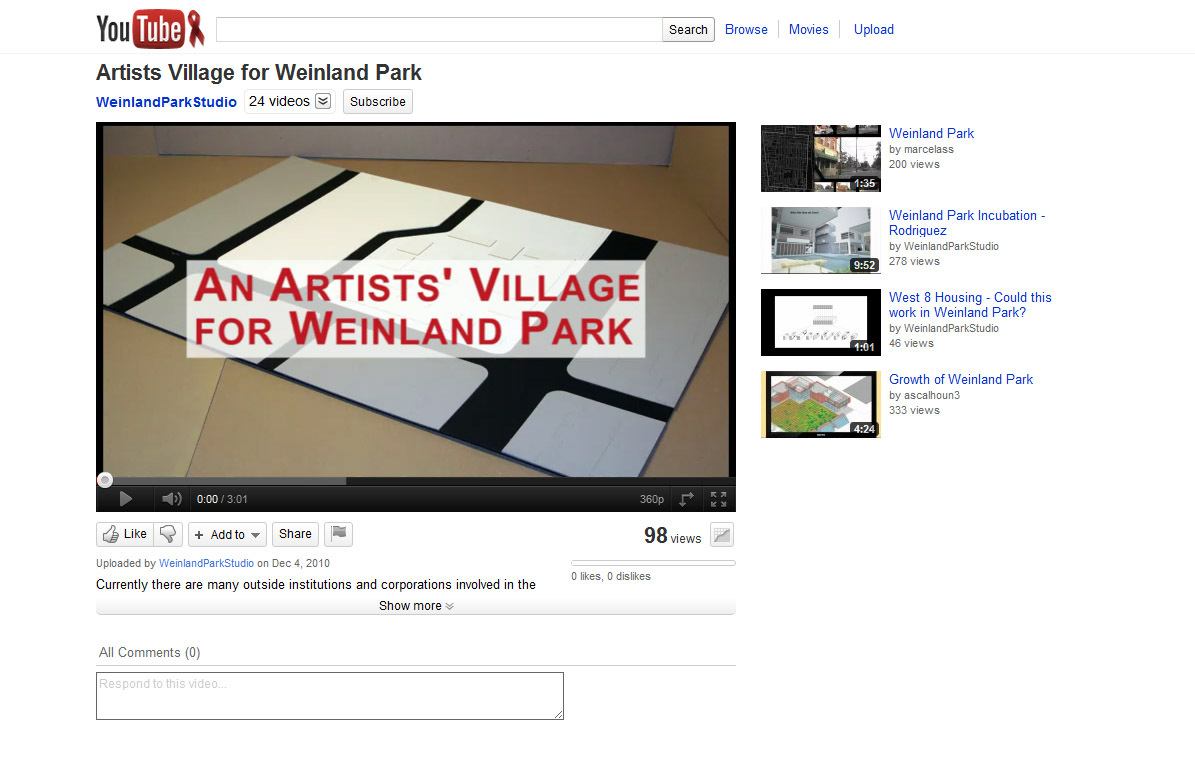 http://www.youtube.com/watch?v=RsPzDPdhjbo is the location of this video. I produced a stop motion animation to describe the process that the village of artists would undergo over its lifetime.