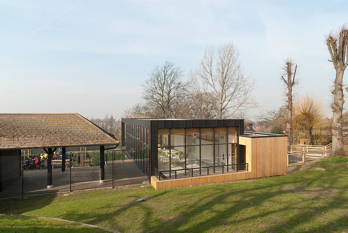 View of the south-east glazing into the education/seminar space from the animal enclosure (Photo: Michael Harding)