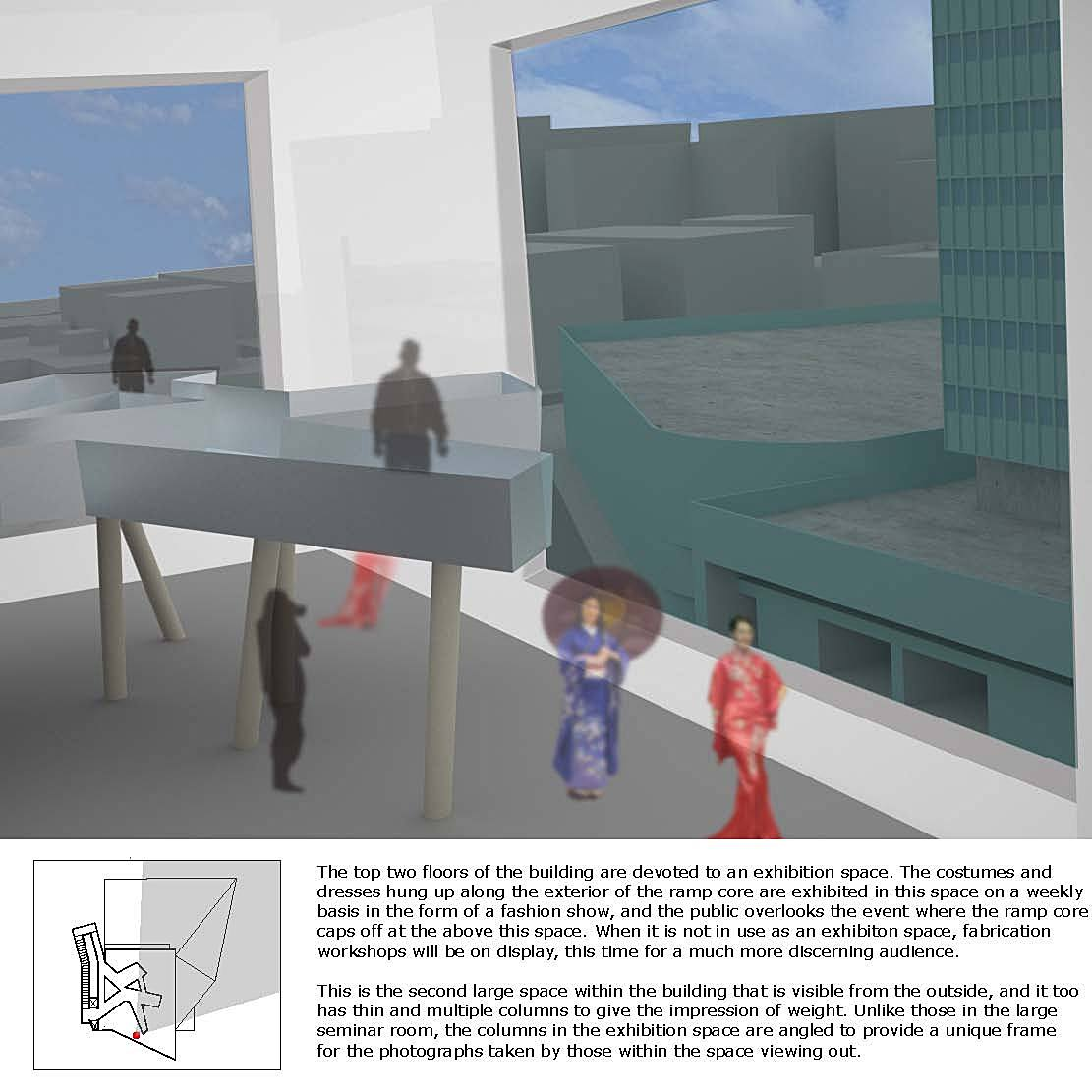 Exhibition and Catwalk Space, top two floors