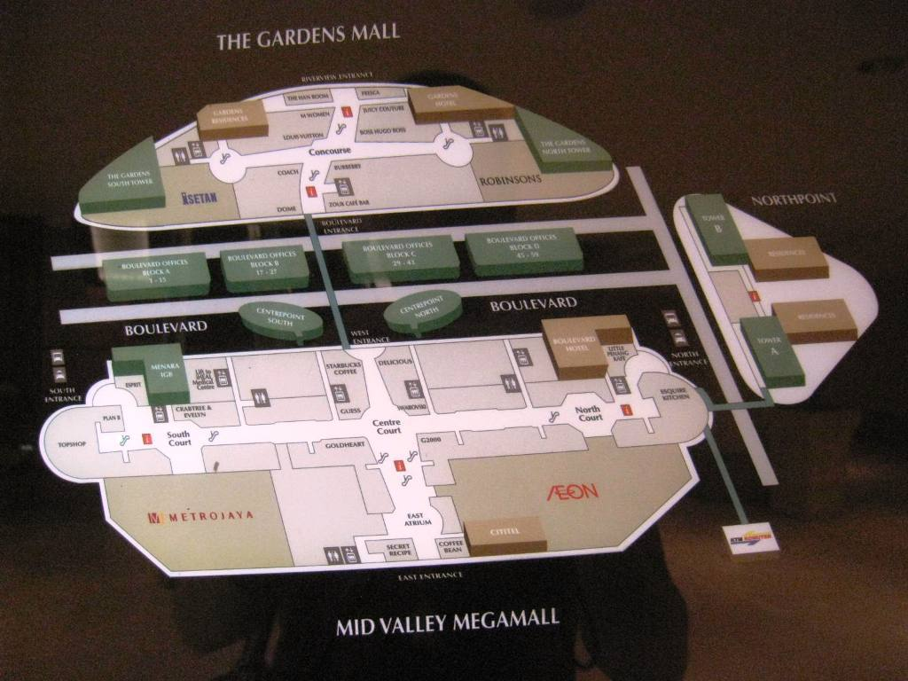 The Gardens Mega Mall, Plan diagram