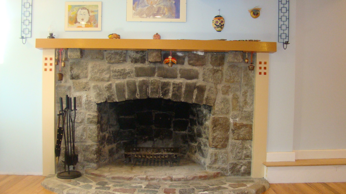 re-designed basement fireplace