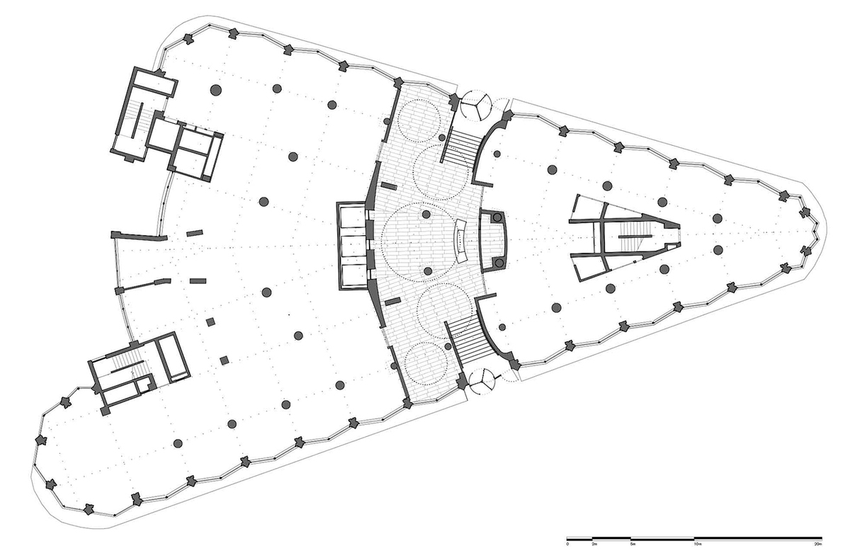 Plan of the ground floor showing the lobby area