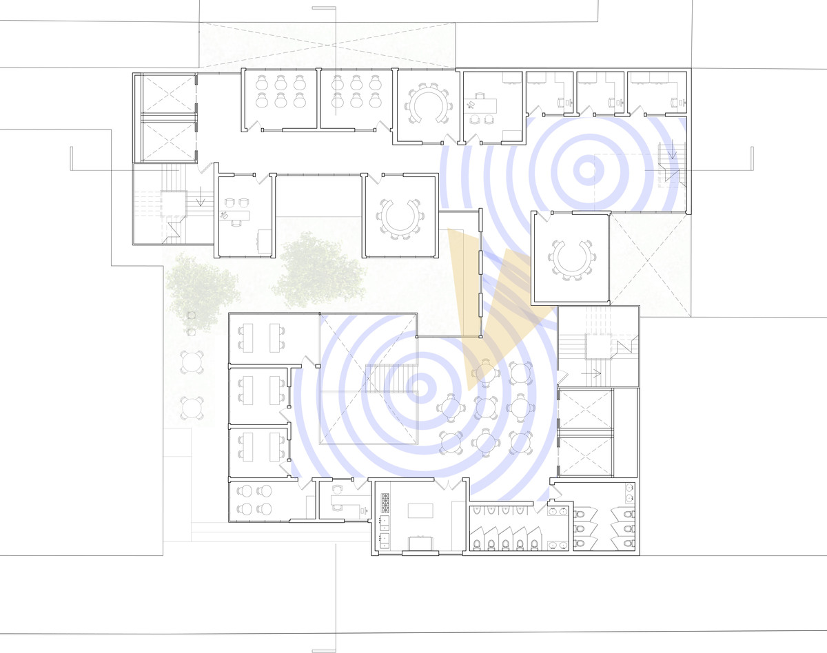 second floor: blue radiating points depict sensory well moments