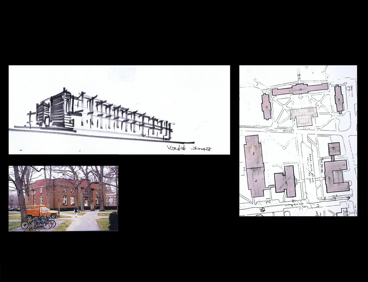 Initial sketch of the new part of the building attached to the back side of exist. bldg., Site Plan, and photo of the existing building
