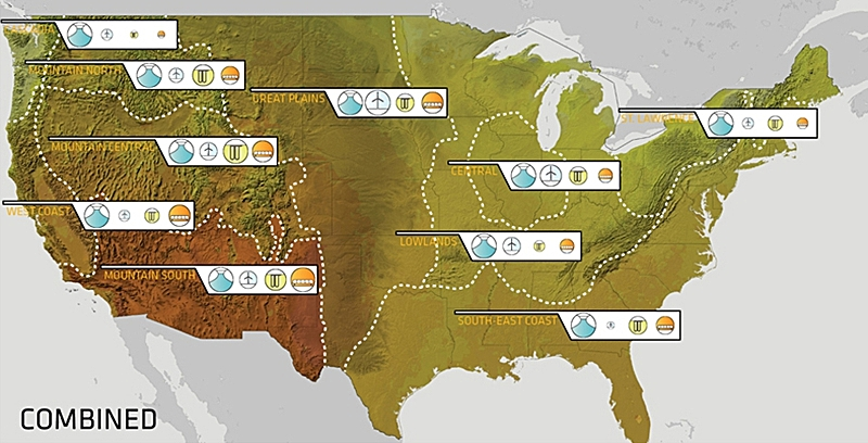 combined map of clean energy potential and identified energy regions