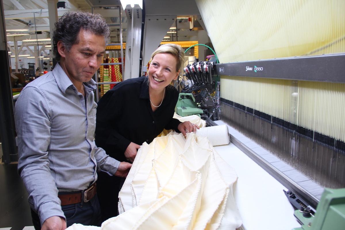 Samira Boon at the loom. Photo courtesy of Samira Boon.