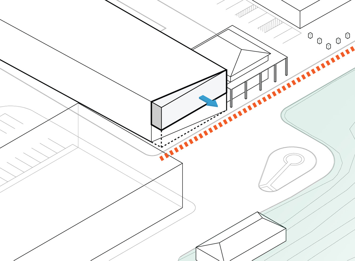 Diagram: street edge + front porch. Illustration courtesy of Trahan Architects