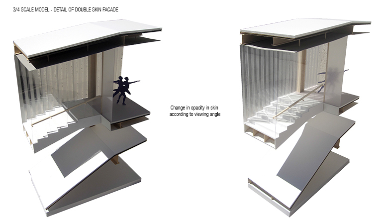 3/4 scale detailed section model: double skin facade moiré effect