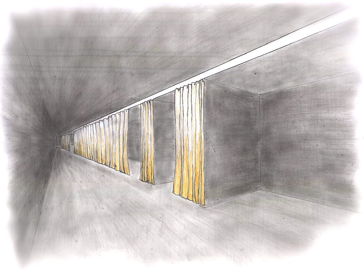 Hand drawn perspective of interior