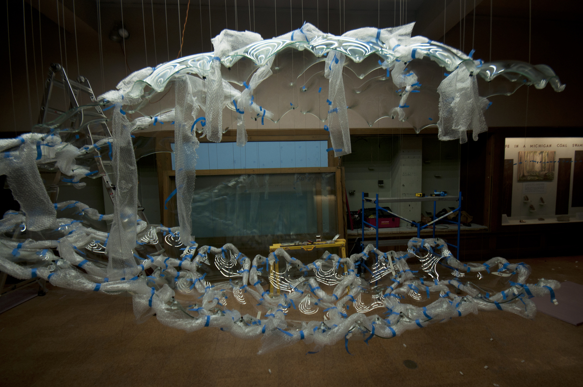Panels w/ protective bubble wrap