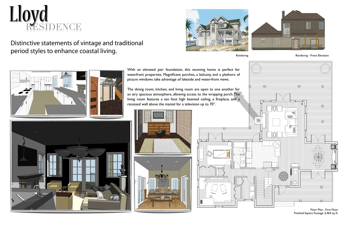 FIRST FLOOR CONCEPT BOARD - Residential Design I created in Revit Architecture