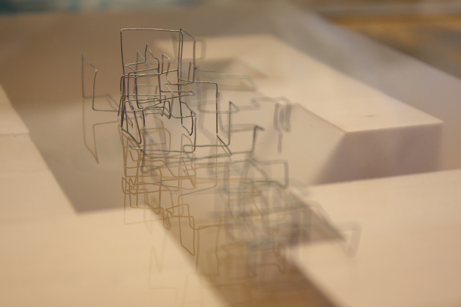 Public/private facade study of Waverly Street [basswood, plexi, wire]