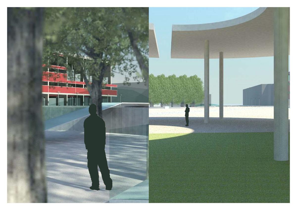 Inside the sculpture garden/Under the pavilion