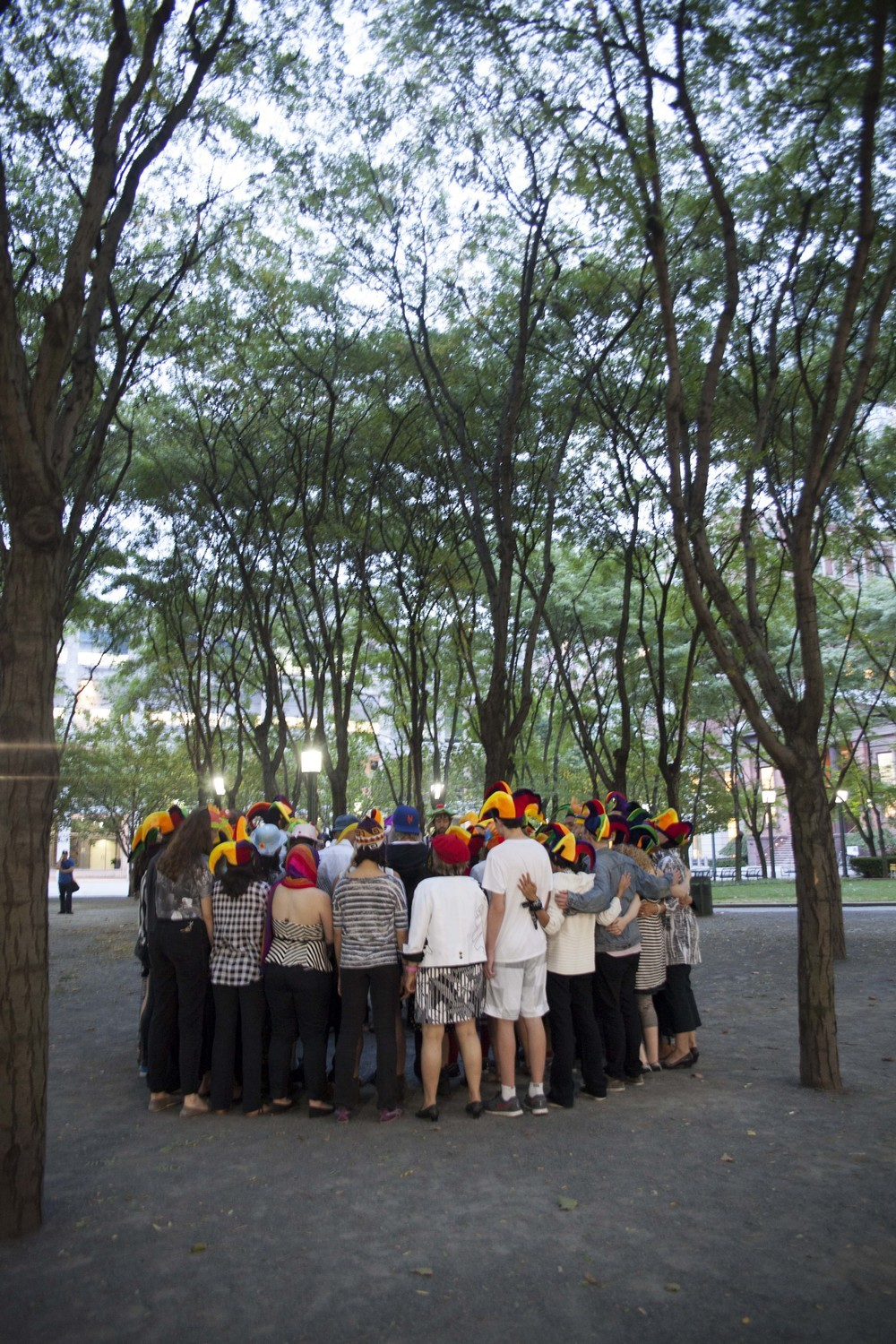 At sundown, nearly 100 members of the public gathered in Metrotech Plaza for the climax of the penultimate day of