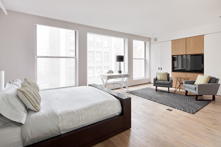 Midtown Minimal Master Bedroom. Photo: Evan Jospeh