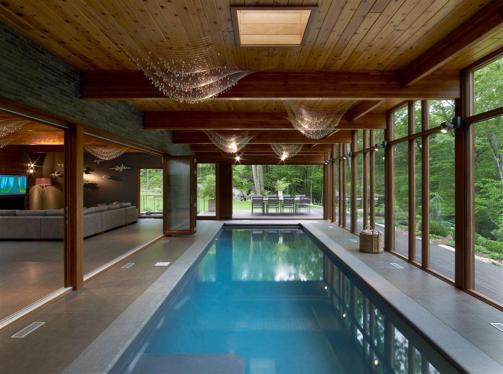 Ingo Maurer lighting rests over pool