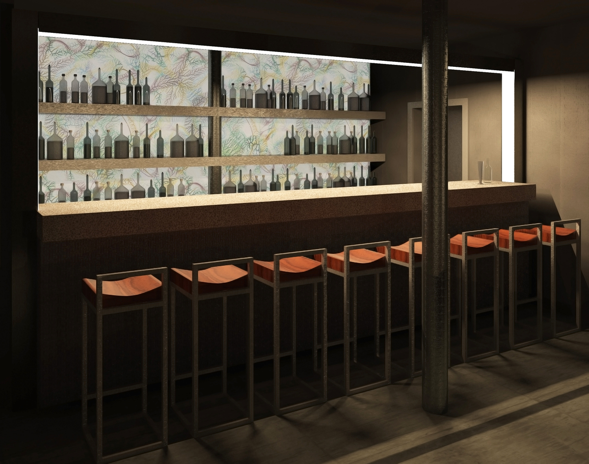 View of the central dinner area, with the bar at the end.