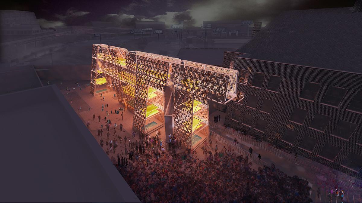 Rendering of CODA's Party Wall. Image courtesy of CODA