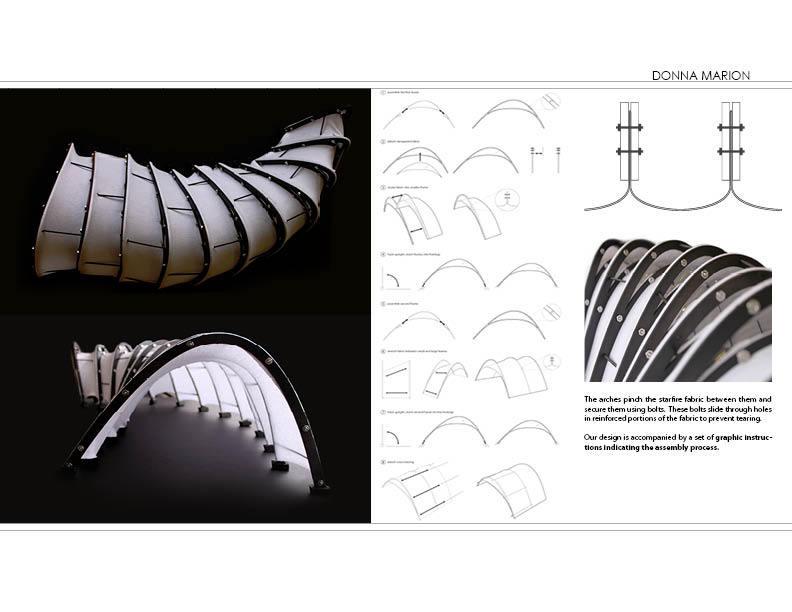 Fabric Pavilion - model photographs, assembly diagrams