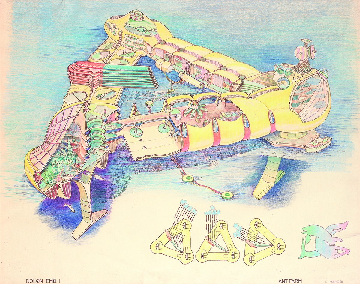 Ant Farm's original Dolphin Embassy, conceived for the 1973 exhibition 2020 Vision (Contemporary Arts Museum Houston), also referred to as the 'RV John Lilly' to distinguish it from later iterations. Ant Farm, DOLON EMB 1 (Drawing by Curtis Schreier). 1975, hand colored brownline, 18x22 in...