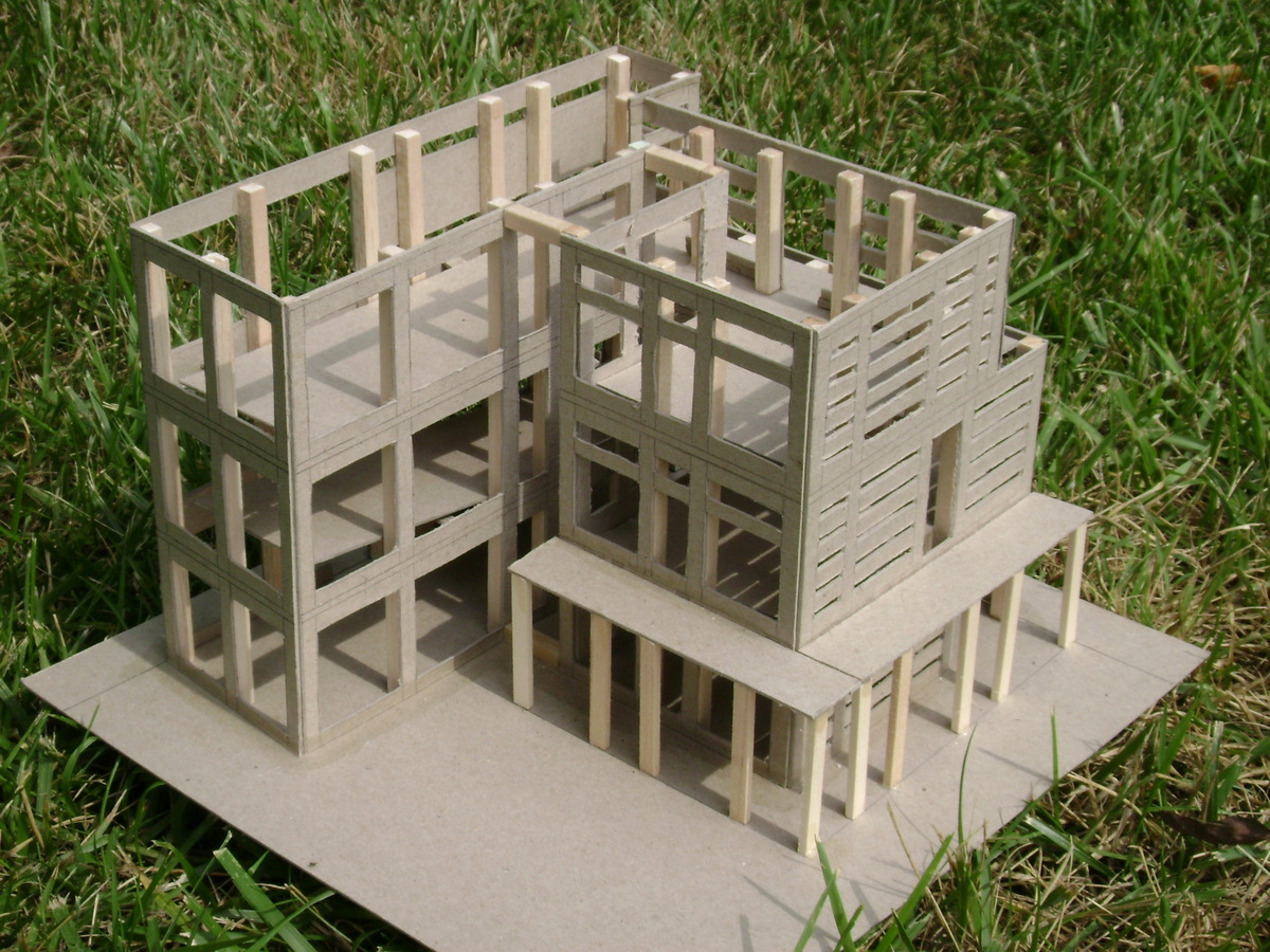 An exterior shot of the cabin like structure created. Each side had a different pattern that varied the amount of light that could pass through.