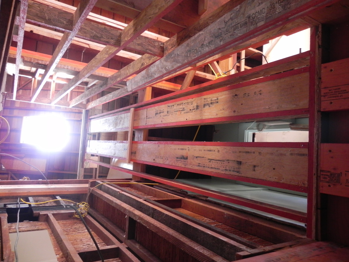 Elevator shaft framed with Microllam studs.