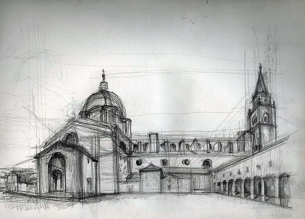 Church, Mantova ,Italy (graphite +ink)
