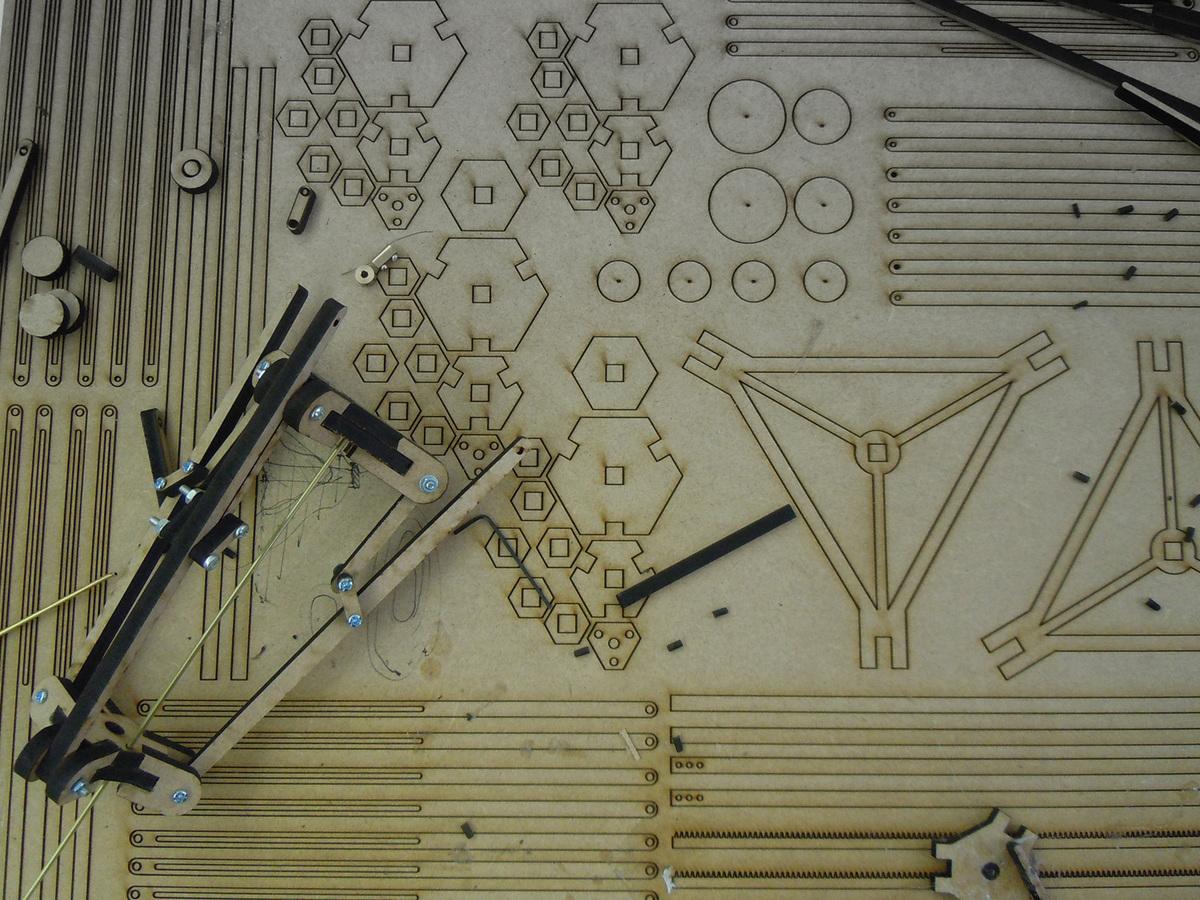 Phase 1: Laser cut model / kinetic enclosure component, AA DLAB: Blue, London / Hooke Park, July - August 2013 (photo: Elif Erdine)