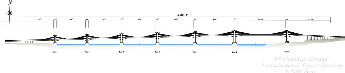 Companion Bridge Elevation-Longitudinal Section (CAD)