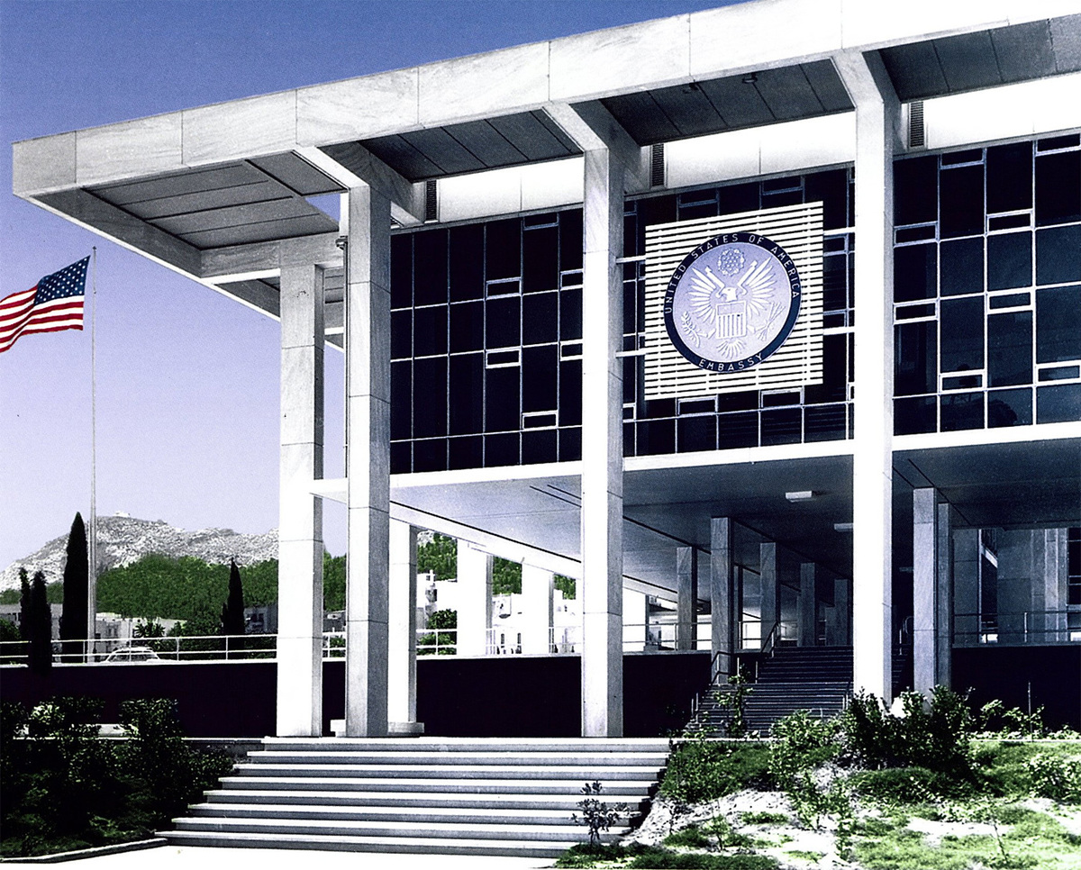 Photo of the Embassy of the United States in Athens, Greece (Photo courtesy U.S. Department of State Bureau of Overseas Buildings Operations)